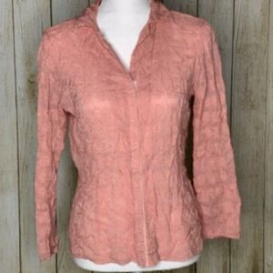 Johnny Was Pink Embroidered Blouse